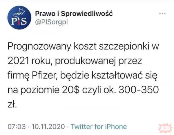 PiS: W 2021r 20$=~300-350PLN