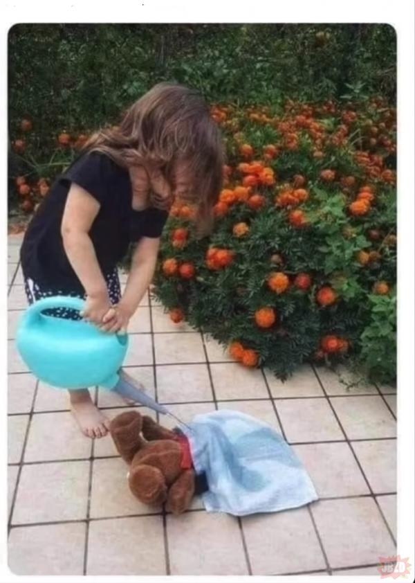 Ładnie się dziecko bawi na ogródku