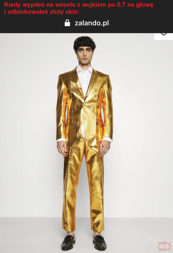 Złoty skin na weselu