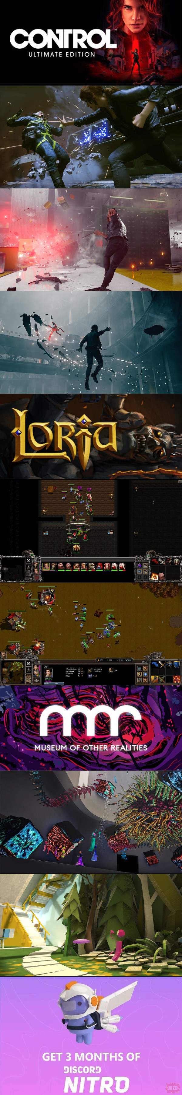 Control za darmo w egs, Museum of Other Realities za darmo na Steamie, Loria przeszła na F2P(Steam,GoG) oraz Discord Nitro na 3 miesiące za darmo w egs