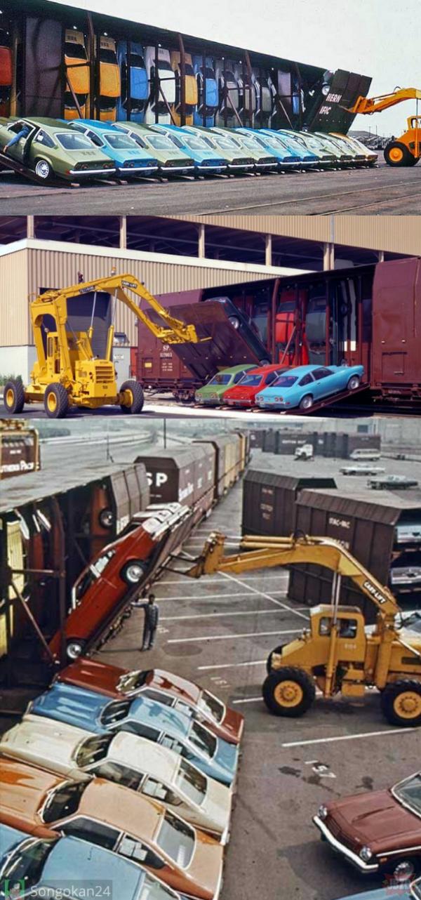 Załadunek Chevroletów na wagony kolejowe, 1971 rok