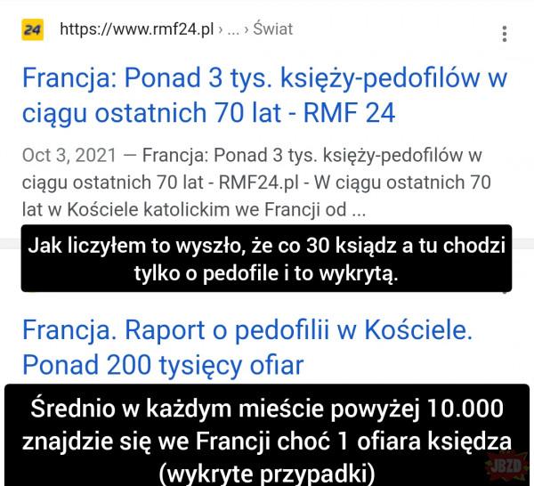 To tylko 3.000 molestowań i gwałtów rocznie przy populacji 100.000 księży we Francji :p i to tych wykrytych!